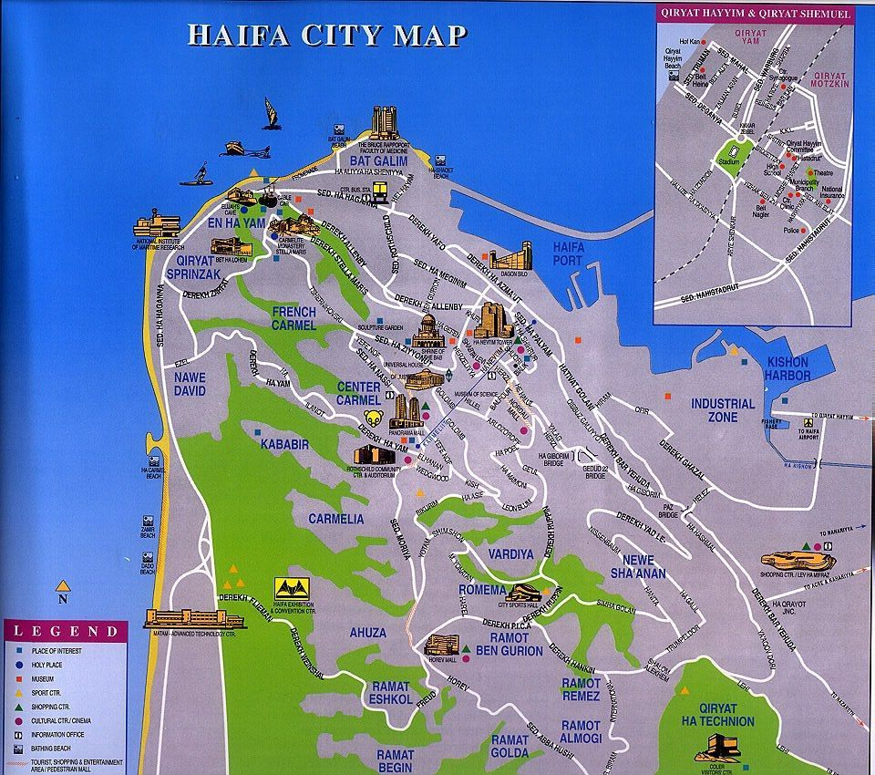 Map of Haifa Touring Guides in Israel Pinterest Haifa and Israel