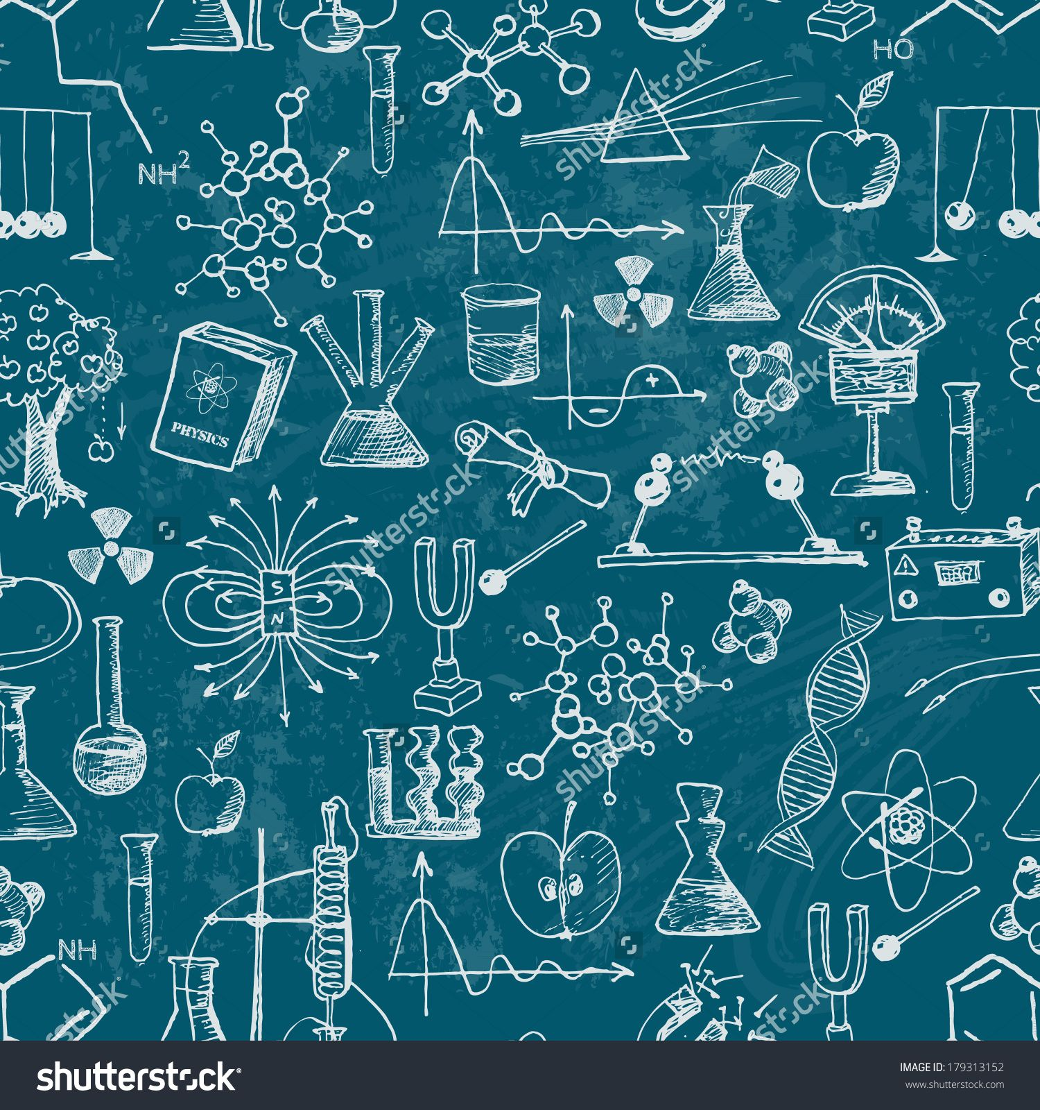 Science Laboratory Background Design: Physics, Hand Drawn Vector