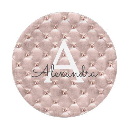 Pink Rose Gold Vintage Jewel Monogram Birthday Paper Plate - girly ...
