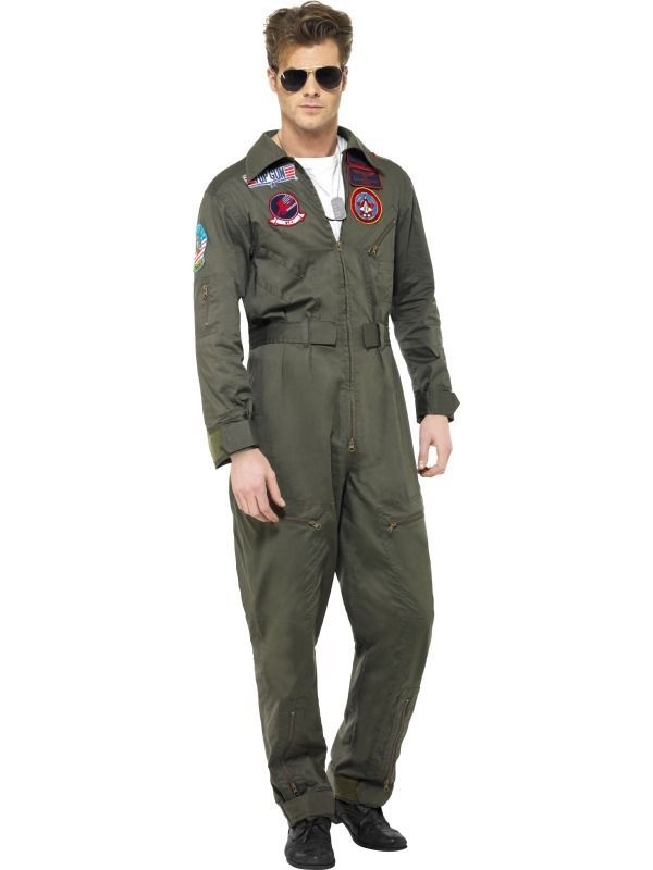 Mens Aviator Army Costume Pilot Flight Suit Uniform 80s Fancy Dress Flightsuit