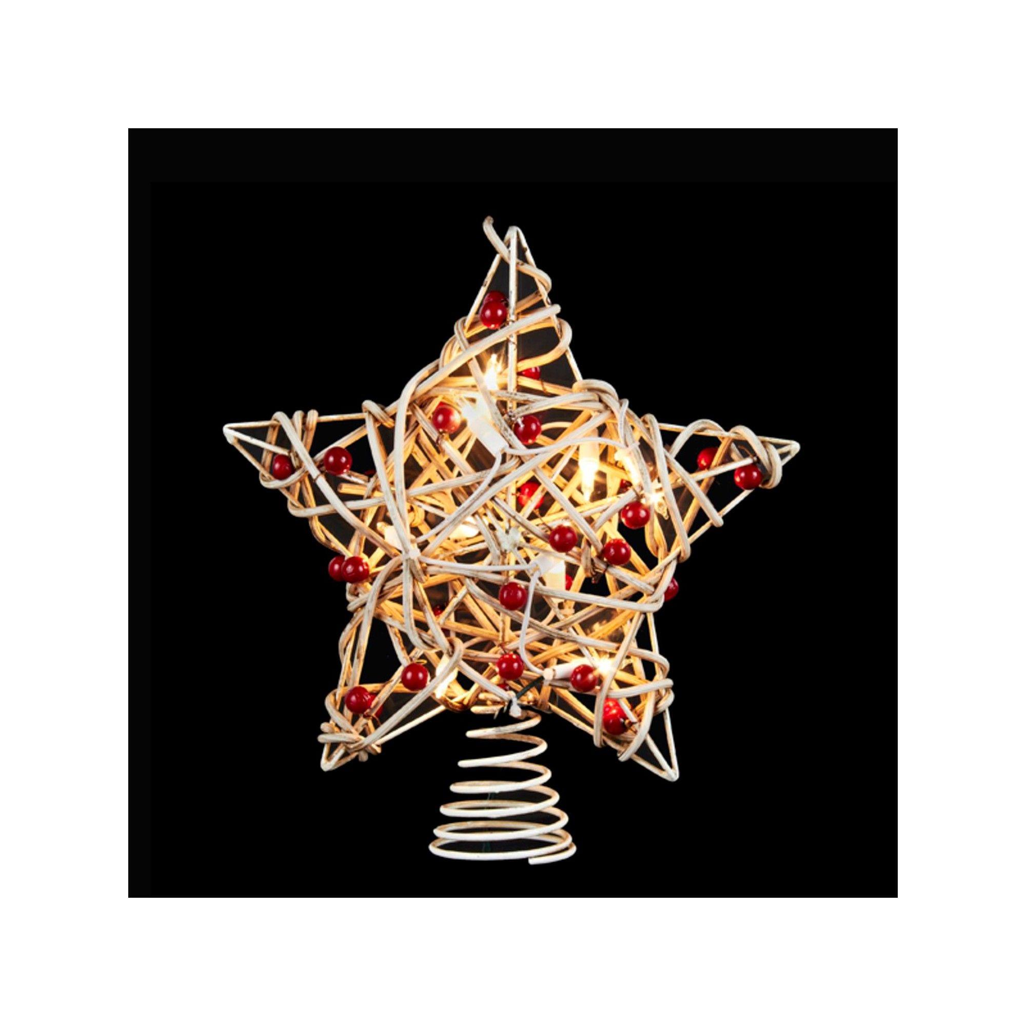 Kurt Adler 11.5 Lighted White Birch Berry Star Christmas