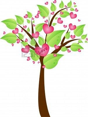Valentine tree with pretty green leaves and hearts