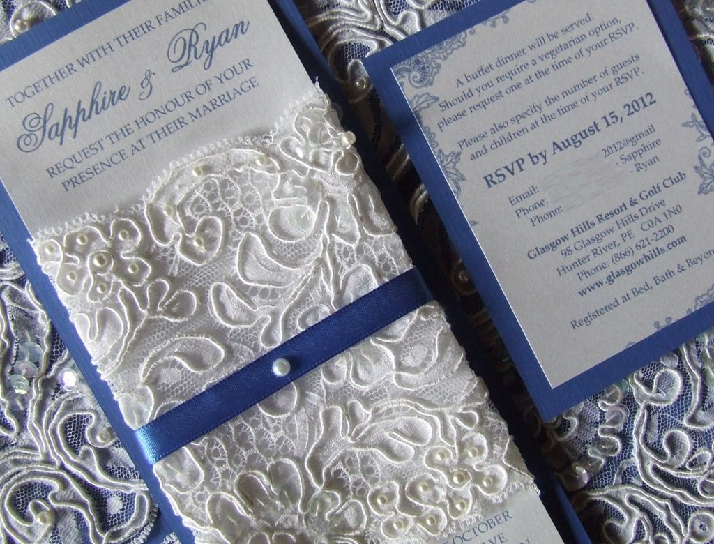 White lace and royal blue color theme