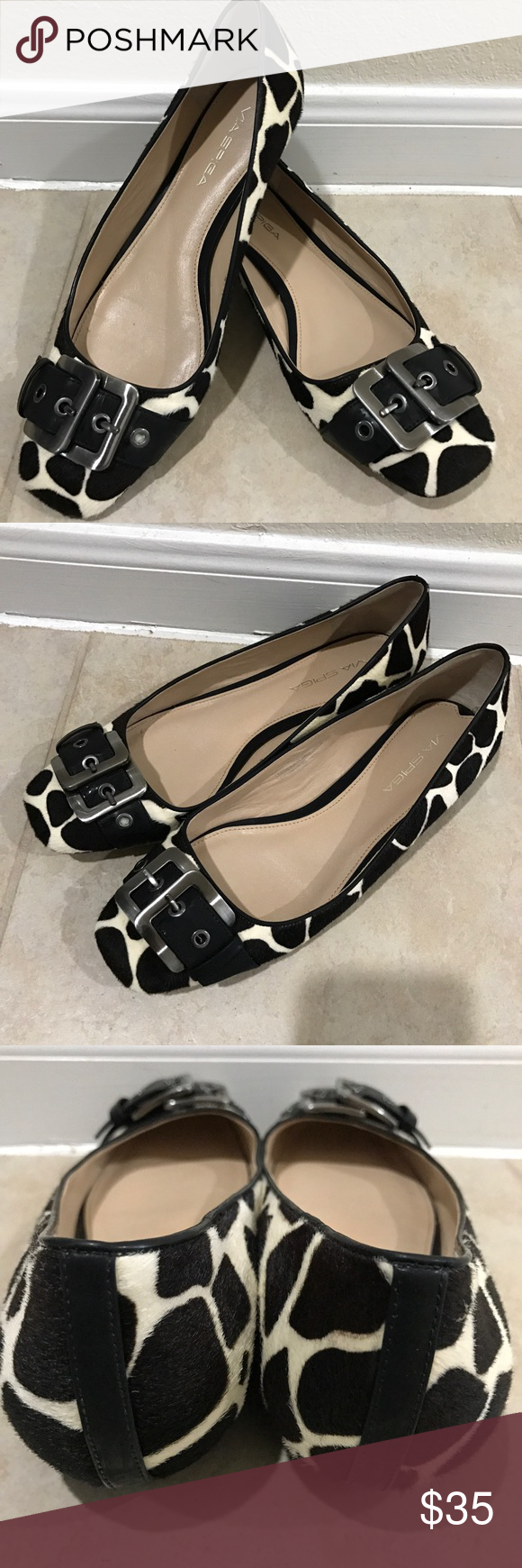 """VIA SPIGA Flats ⚡️FLASH SALE...THIS WEEK ONLY⚡️                        Pre-Owned """"VIA SPIGA"""" Flats.  In very good condition.  Leather/man inner and outter material.  Color: Black/White Size: 8B. Via Spiga Shoes Flats & Loafers"""