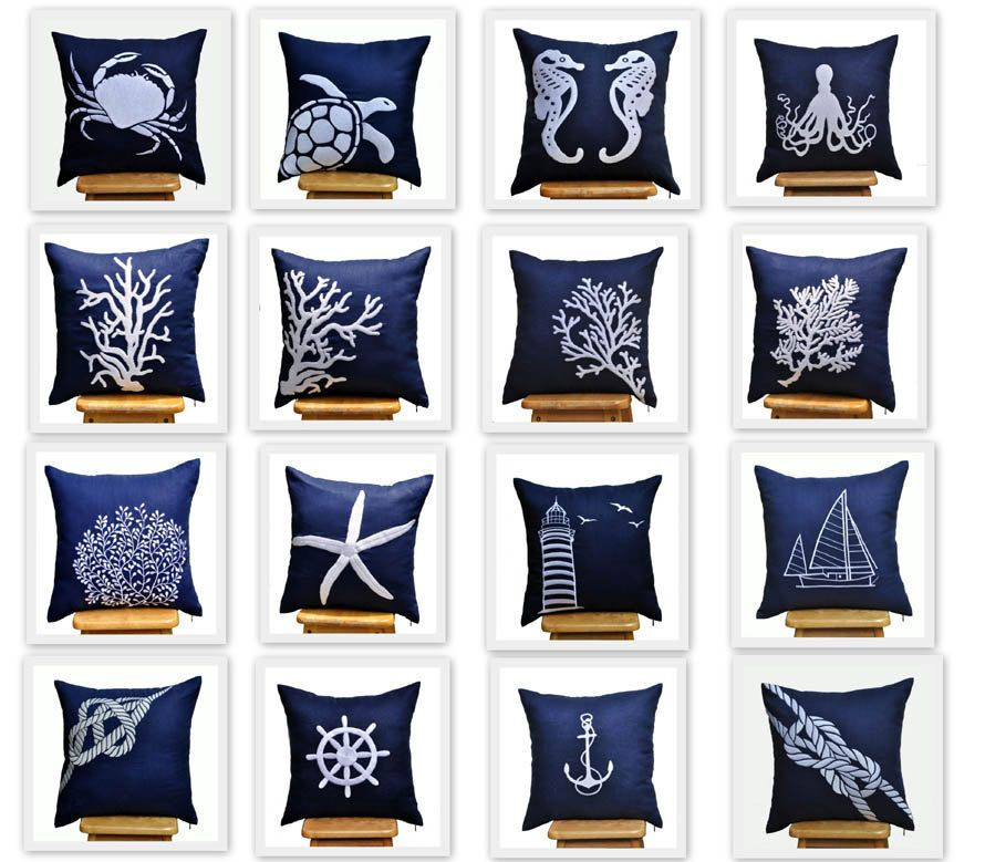 Nautical Beach Pillow Cover Set Of 2 Embroidered Coastal Pillow