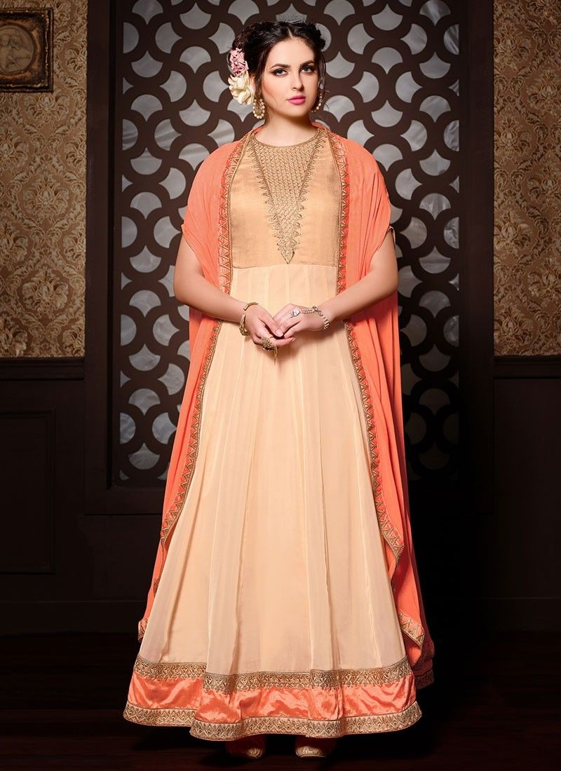 Shop online cream georgette bhagalpuri longlengthsalwarsuit