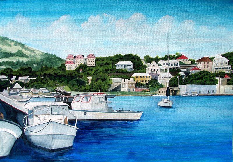 Watercolor paintings of St. Croix USVI Water island