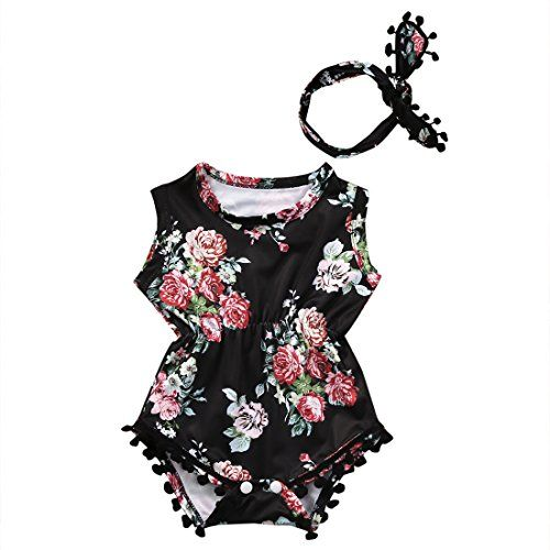 023d4b757 Cute Adorable Floral Romper Baby Girls Sleeveless Tassel Romper One-pieces  +Headband Sunsuit Outfit Clothes (18-24 Months, Black)