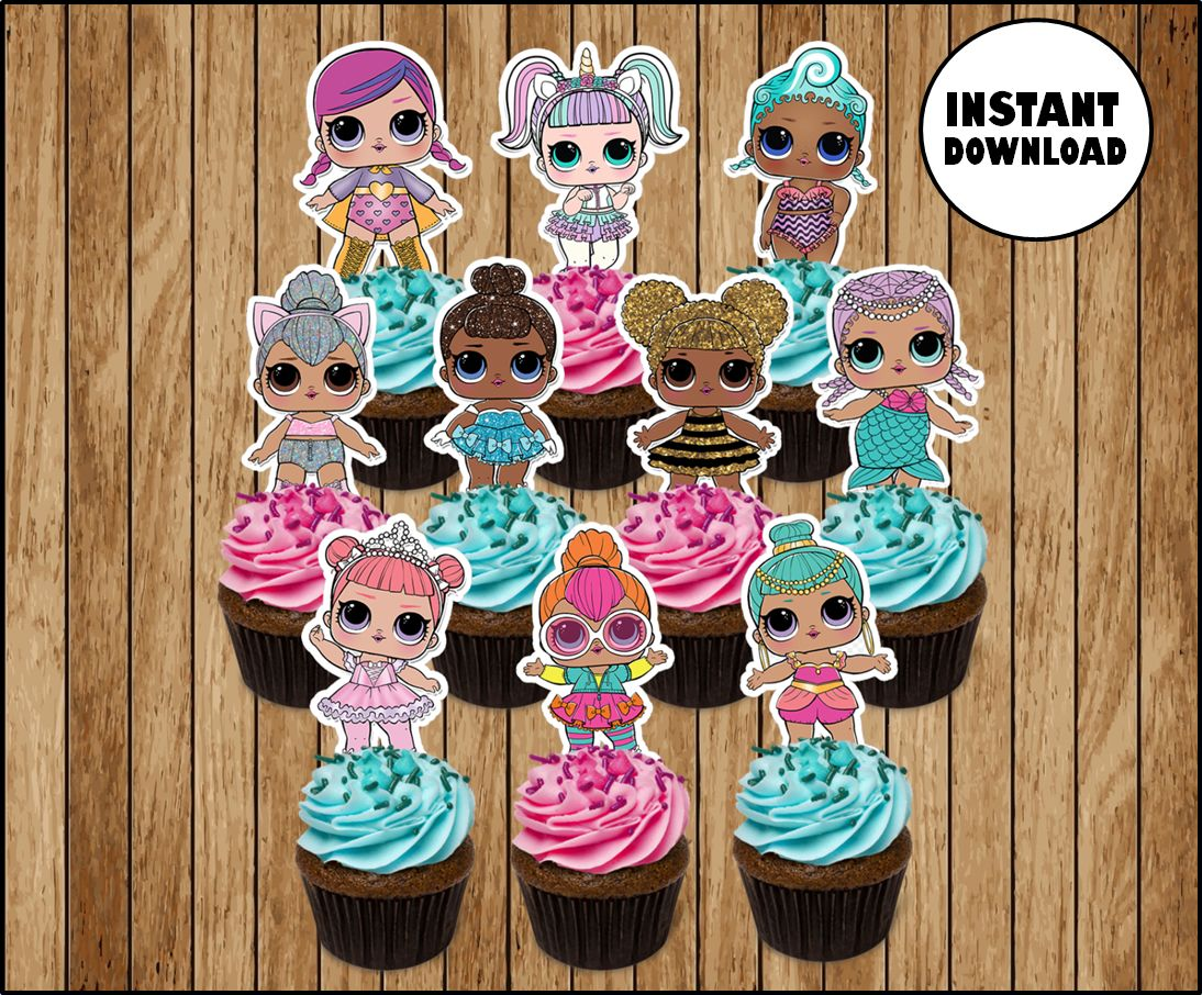 Lol Surprise Dolls Cupcakes Toppers Printable Lol Dolls Party Toppers Lol Surprise Boy Cupcakes Toppers Stickers Printable Doll Party Party Topper Lol Doll Cake