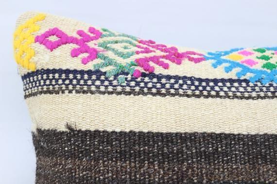 16x16 Turkey Kilim Pillow, Designer Pillow, Patterned Pillow,Throw Pillow, Pink Pillow,Oriental Pill