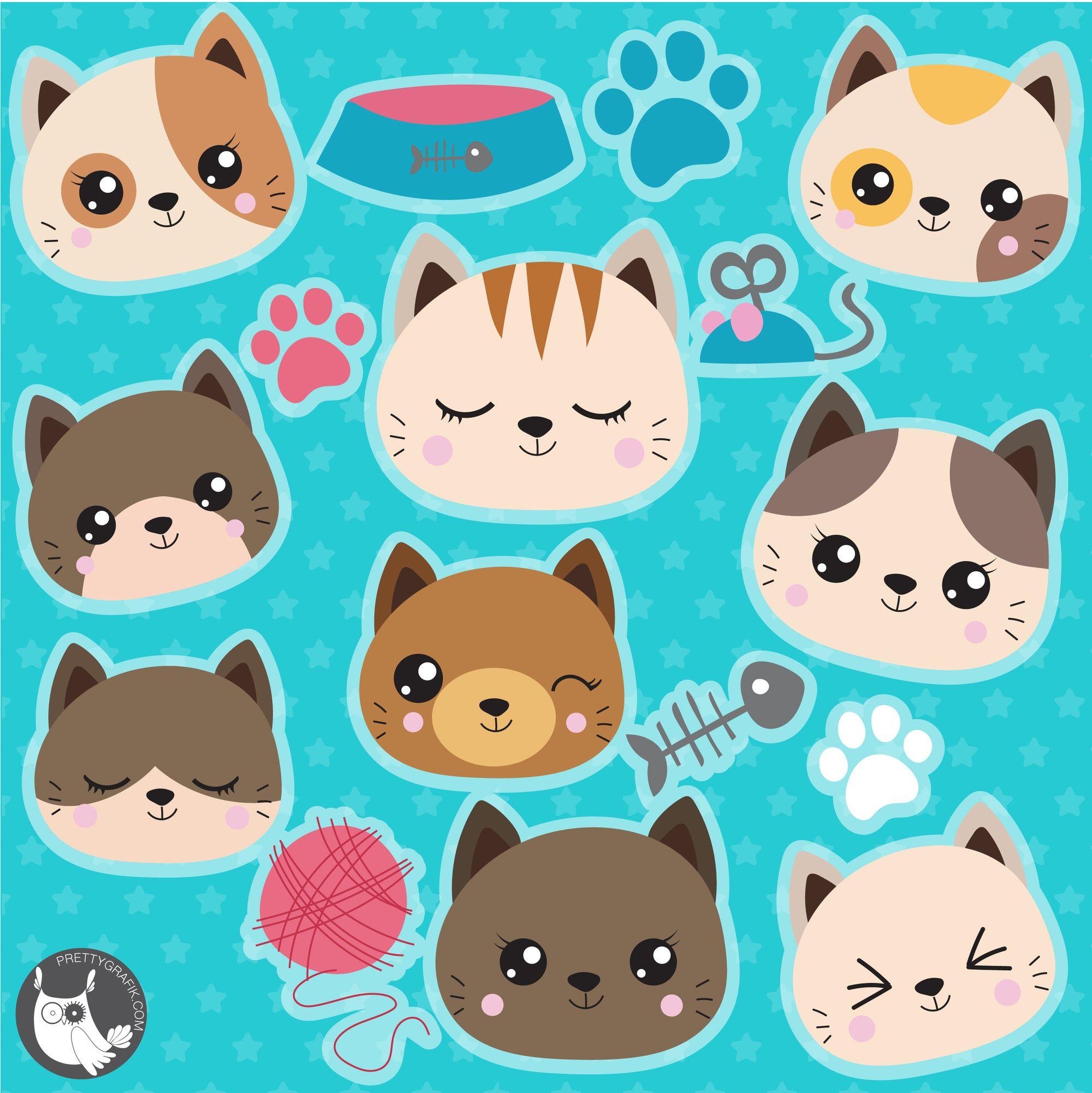 New Graphics Release Cute Cats Graphics Clipart Digitalart Vectorart Clipartforcraft Digital Clip Art Cat Clipart Printable Design Paper