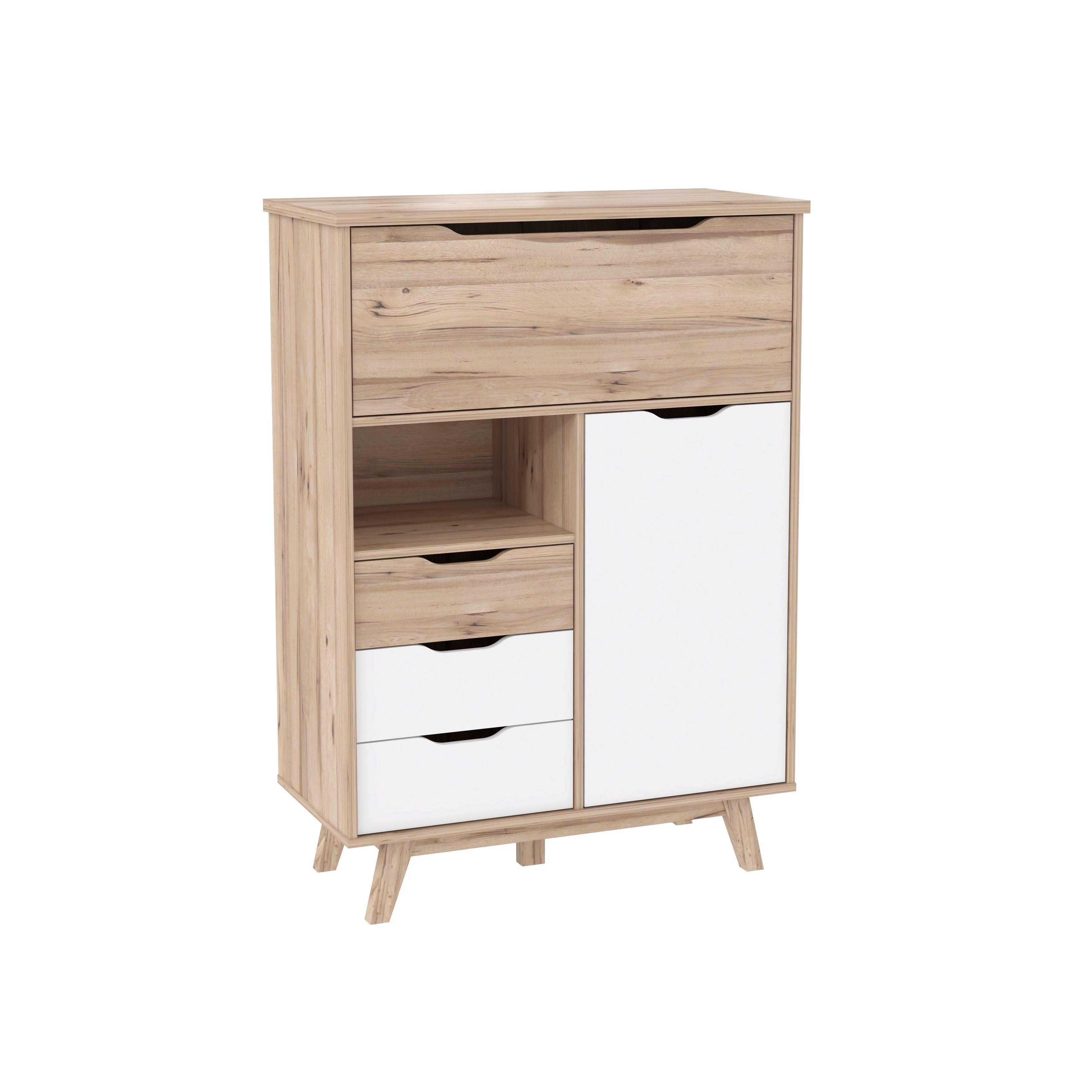 Buffet Haut 1 Porte 3 Tiroirs Kopenhagen Chene Blanc But Scandinave Bois Deco Mobilier De Salon Meubles But Buffet Haut