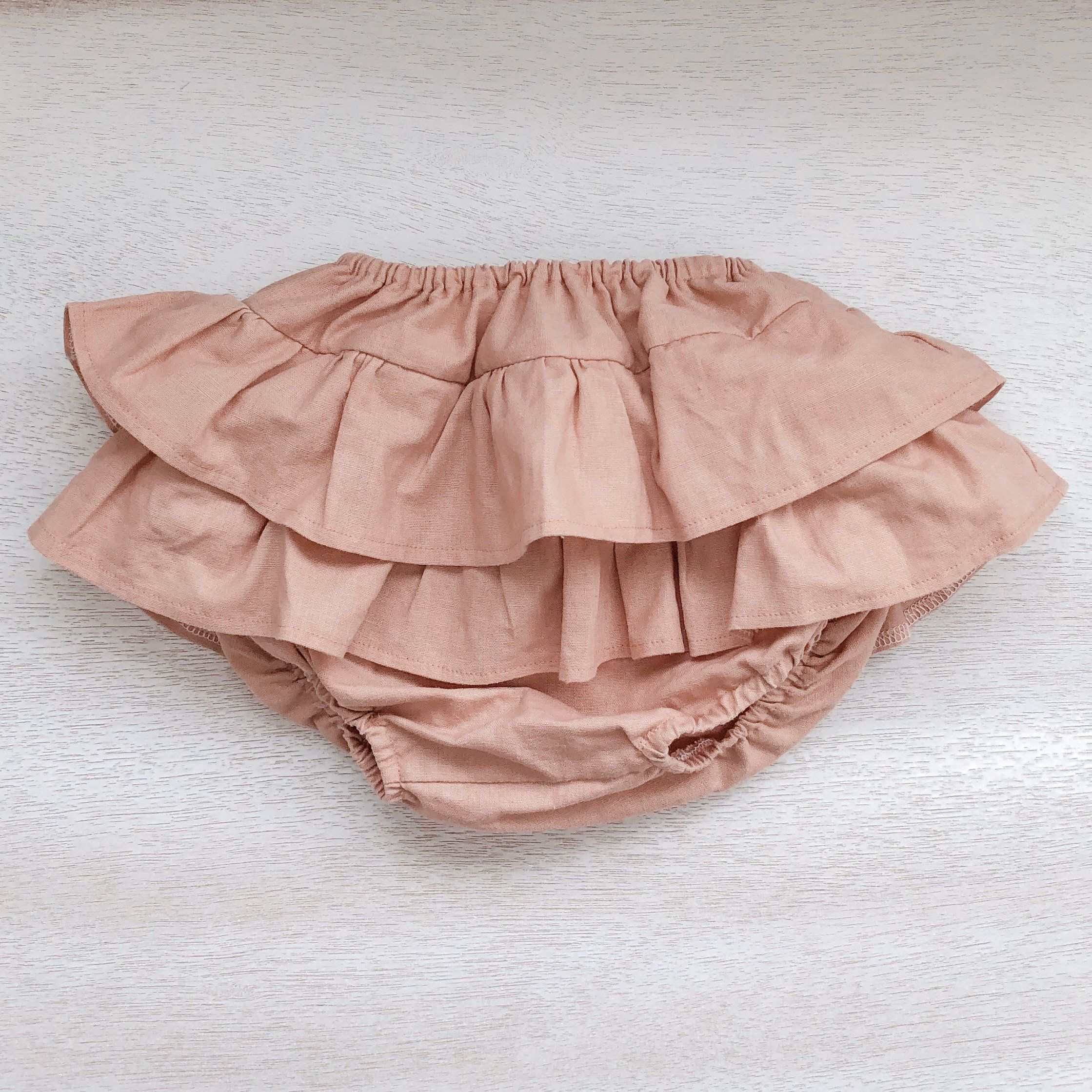 baby girl clothes Blue floral baby bloomers  paper bag waist Baby bloomers cake smash outfit girl