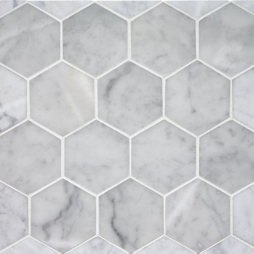 Hexagonal tiles statuary marble hexagon mosaic tiles for Carrelage hexagonal marbre
