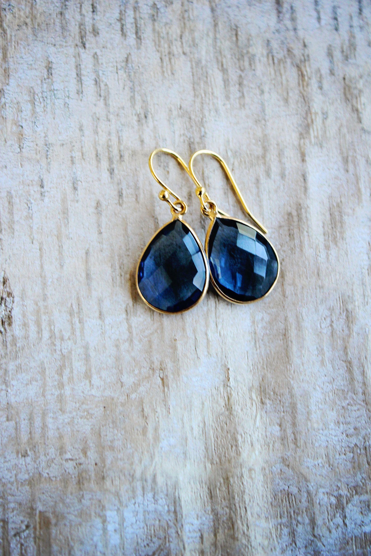 Deep Blue Iolite Drop Earrings