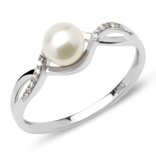 Twistring Perle Diamanten 0,19 ct gesamt Weißgold DR0046 http://www.thejewellershop.com/ #twistring #ring #perle #diamanten #schmuck #diamonds #ringe #jewelry #weißgold #gold