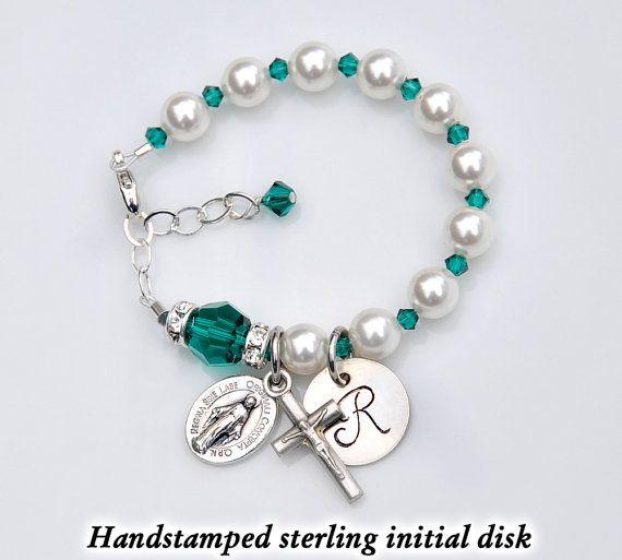 8099091ca Personalized Baby Bracelet - Emerald Green May Birthstone - Baptism Gift - Custom  Rosary Bracelet - Swarovski Crystal Pearls - Christening