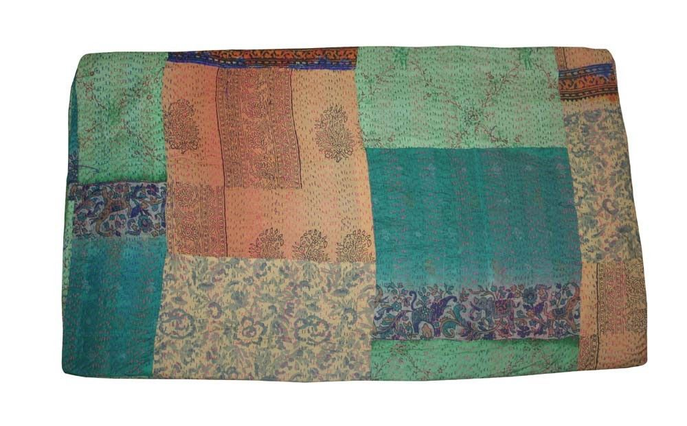 Handmade Indian Sari Vintage Kantha Ralli Throw Twin Size Patchwork Cotton Quilt