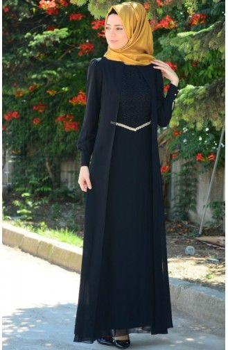 Tesettur Elbise Fy 52264 04 Siyah Musluman Modasi Basortusu Modasi Elbise