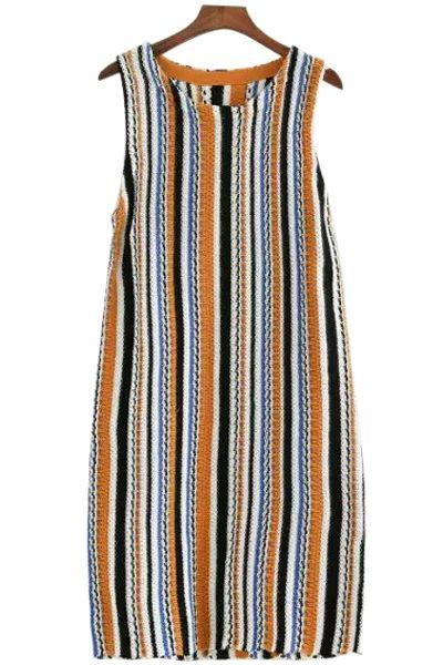 Color Block Stripe Sleeveless Knitted Dress