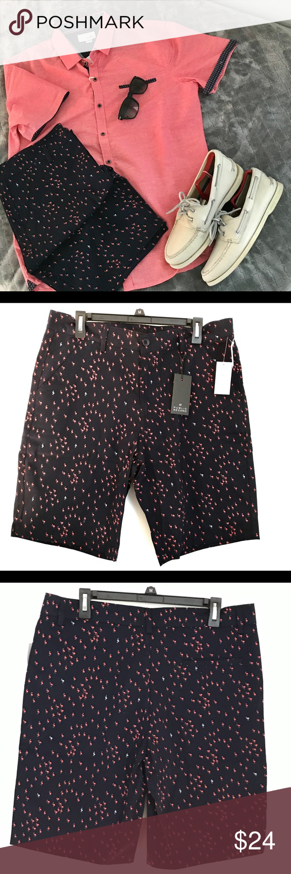 """Public Record Navy Flamingo Bermuda Shorts Size 34 New with tags. From smoke free environment.   Navy Flamingo walking shorts.   Waist 34 Inseam: 9.5"""" Leg opening: 10"""" Materials: 100% cotton  Packed and Shipped in 24hrs USPS Priority Mail  Bundle 3 items for 20% OFF.  Please reach out with any questions.  Thank you!  INVENTORY - SILVER #0023 (SIZE 34) INVENTORY - SILVER #0024 (SIZE 32) Public Record Shorts Flat Front"""