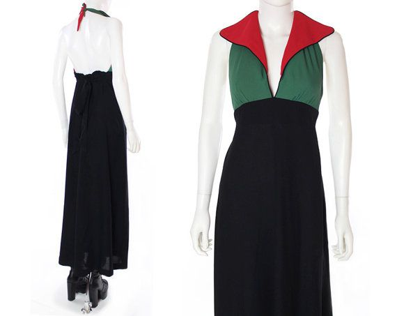 TERE TEREBA design for Young Edwardian/ I.MAGNIN.  color block knit halter maxi. mid 70s. looks very contemporary!