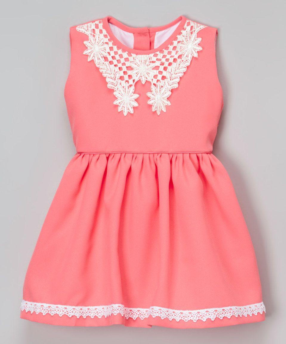 Look at this #zulilyfind! Mi Petite Coral & White Lace Dress - Infant, Toddler & Girls by Mi Petite #zulilyfinds