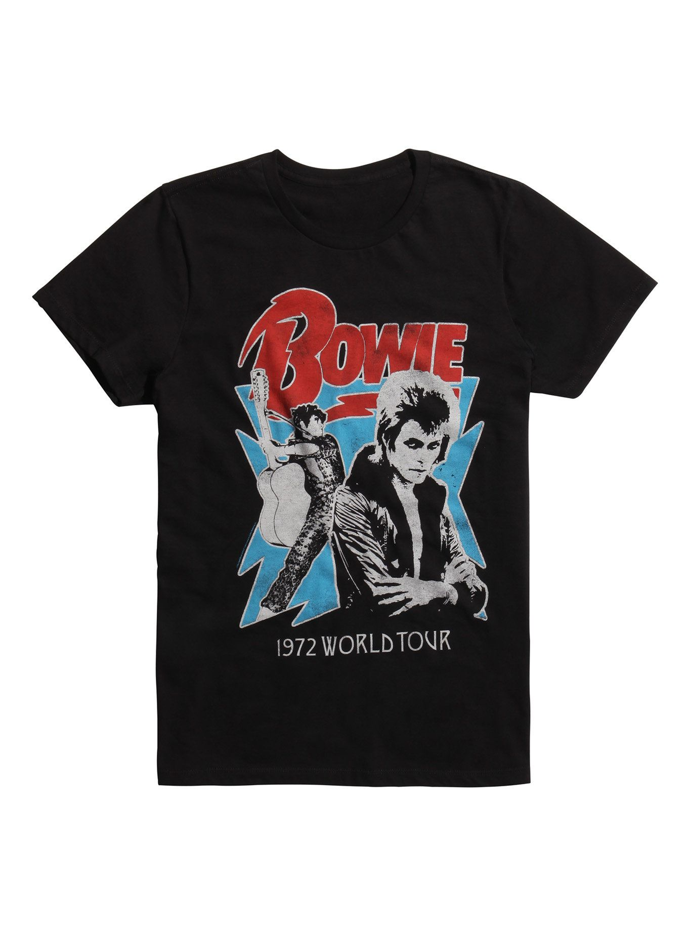 Black T Shirt From David Bowie Featuring Retro Style Front Amp Back Designs Commemorating The Ziggy Stardust Tour O David Bowie T Shirt T Shirt Tour T Shirts