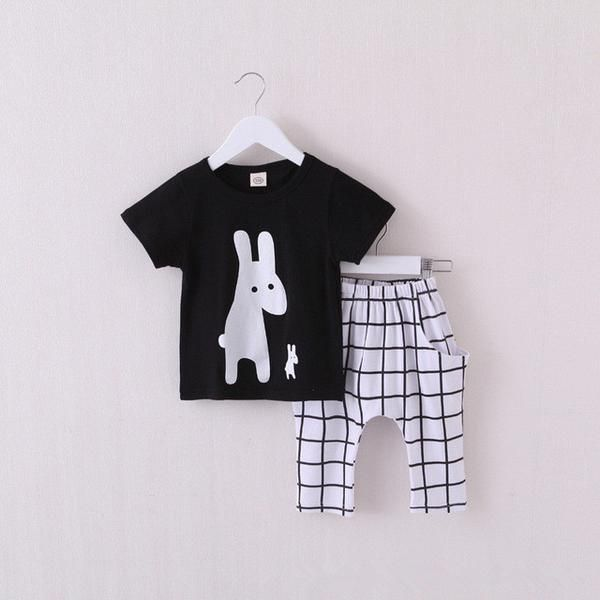 Boys Outfit Graphic White Rabbit with Checkered Pants