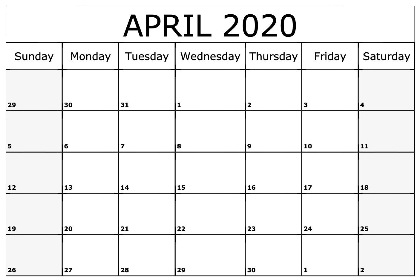 Editable April 2020 Calendar To Print Pdf Word Blank Blank