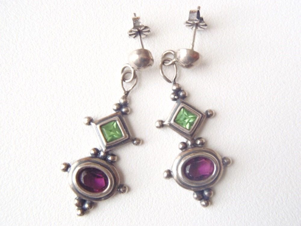 Vintage Sterling Silver Post Dangle Earrings Faceted Green Peridot and Purple Amethyst Granulation Exotic Colorful Gems & Silver Earrings by AstrasShadow on Etsy https://www.etsy.com/listing/254379121/vintage-sterling-silver-post-dangle