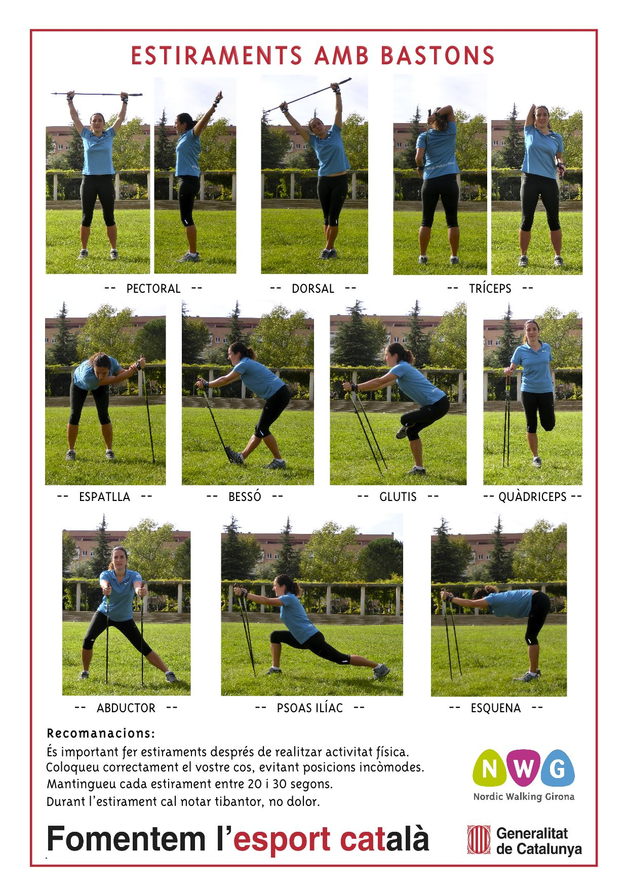 Stretching with poles www.nordicwalking-girona.blogspot ...