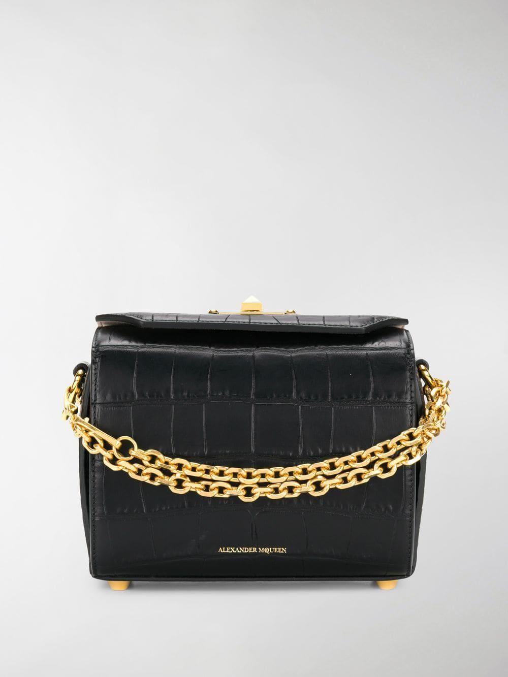 Alexander McQueen Black Borsa A Spalla Box | Bags, Bag
