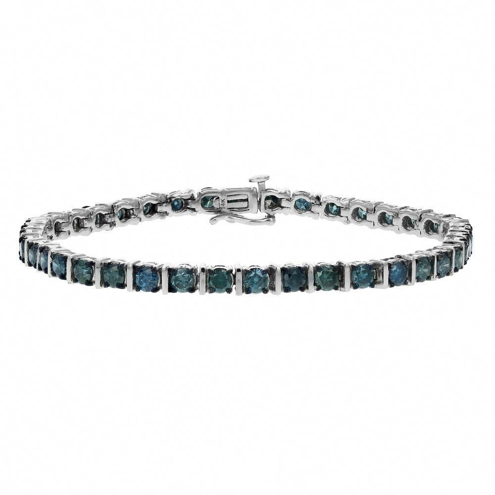 5 Ct 14k White Gold Blue Diamond Tennis Bracelet Ebay Link Diamondtennisbracelets