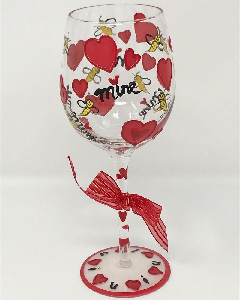 Delish Bee Mine Hand Painted Stemware With Attitude Gift For Her Ebay Attitude Gifts Antique Gift Bee Mine