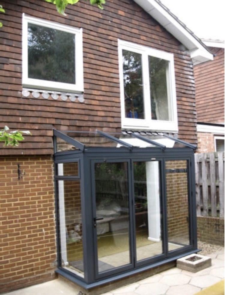 Grey Lean To Porch Glass Porch Porch Installation Bay Window