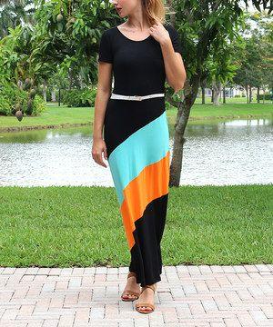 Love this Black & Orange Stripe Belted Maxi Dress by Modern Touch on #zulily! #zulilyfinds