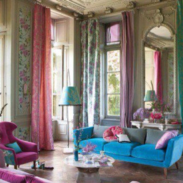 Salons Modernes, Orientalisch, Farbenfroh, Wohnzimmer, Wohnen,  Selbermachen, Rund Ums Haus, Runde, Bunte Vorhänge