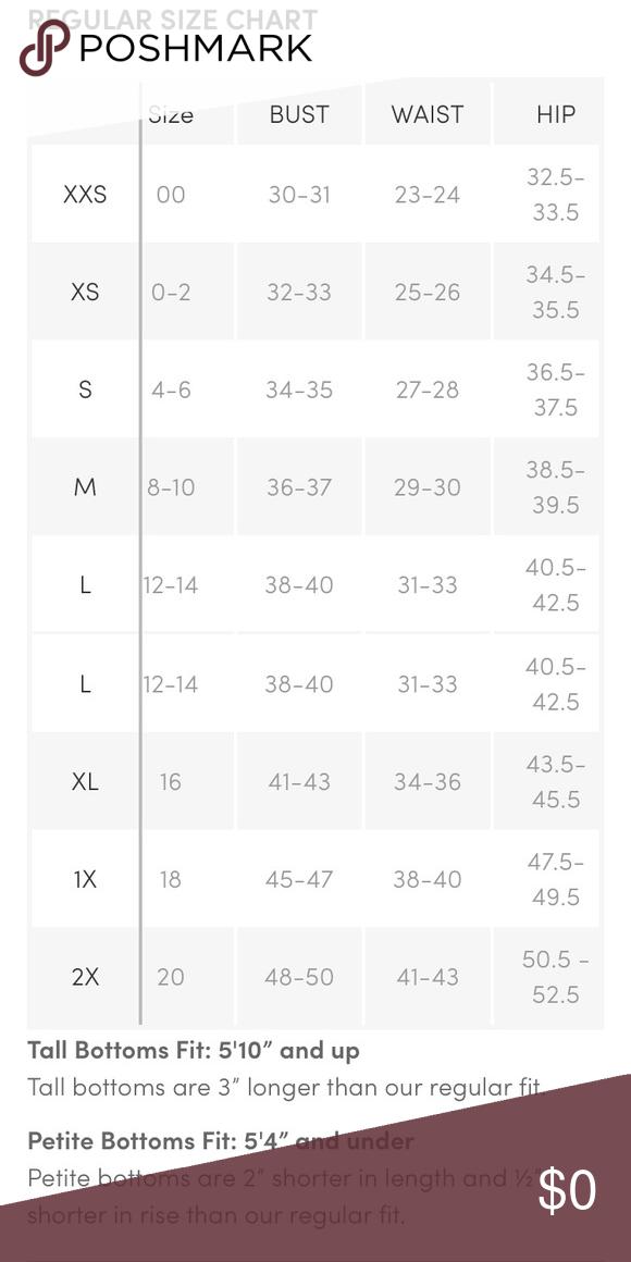 Athleta Sizing : athleta, sizing, Athleta, Regular, Chart, Reference., Chart,, Athleta,