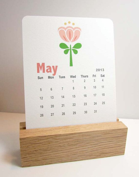 2014 Desk Calendar Freestanding Wood Stand  Photo