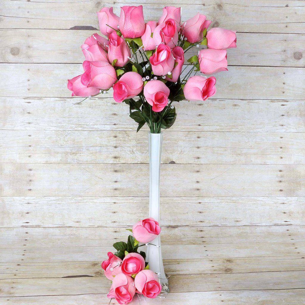 42 Artificial Giant Velvet Rose Buds Wedding Flower Bouquet ...