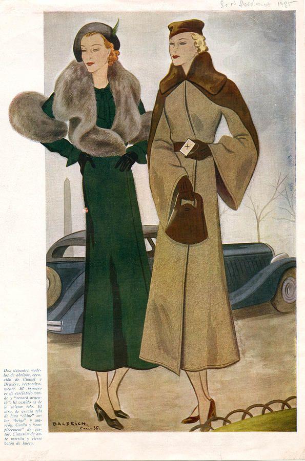 spanish fashion coats 1935 1930s spain drawing vintage. Black Bedroom Furniture Sets. Home Design Ideas