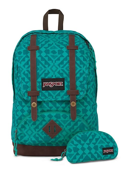 The new JanSport Baughman Backpack in Moonlit Teal Canvas Abstract Angles  featuring a faux leather bottom and a laptop sleeve. 583765ca9dfed