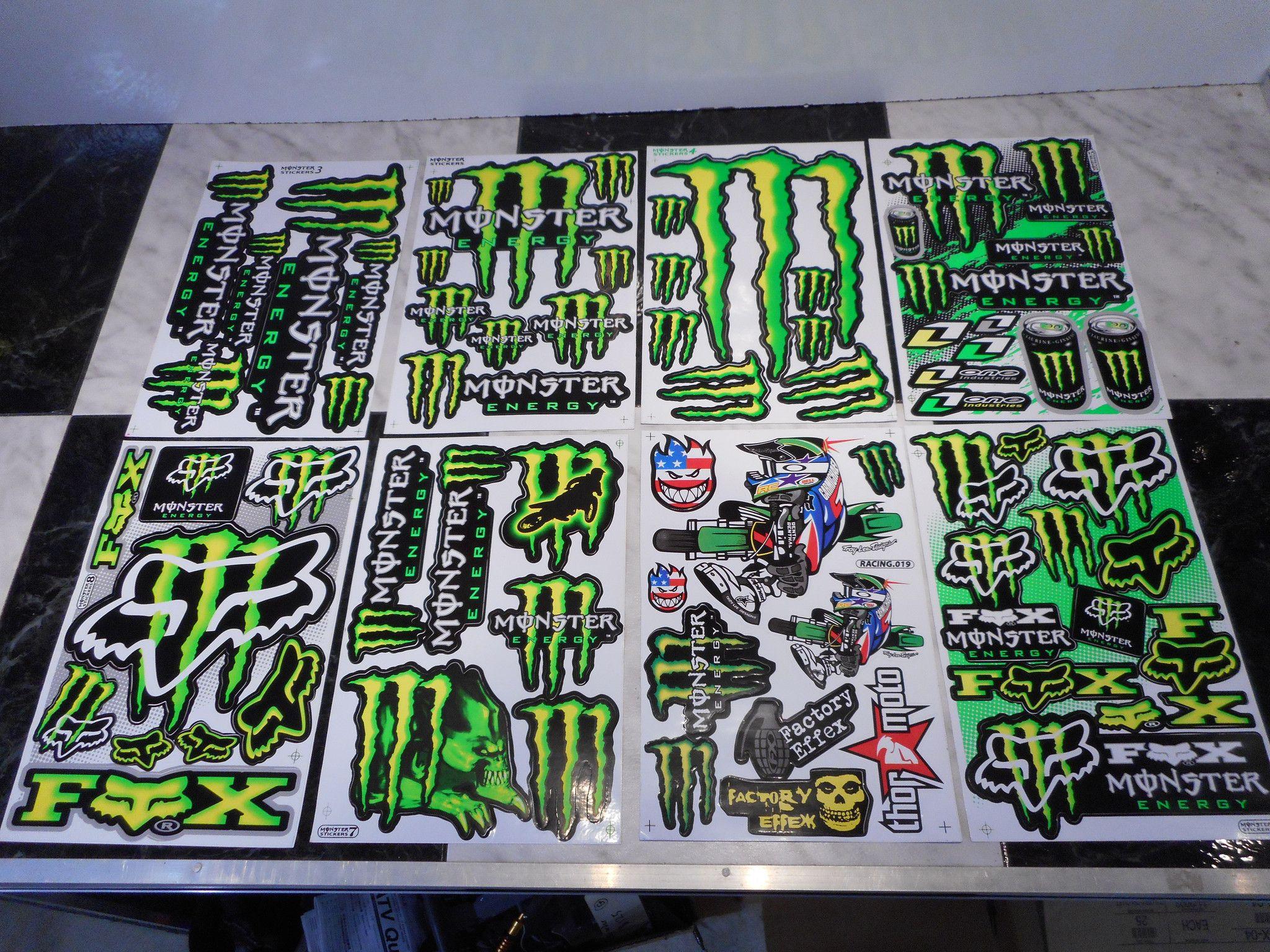 Monster Energy 2pc Stickers Monster Energy Monster Motocross Stickers [ 1536 x 2048 Pixel ]