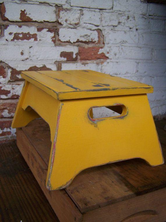 Mustard Yellow Farmhouse Footstool
