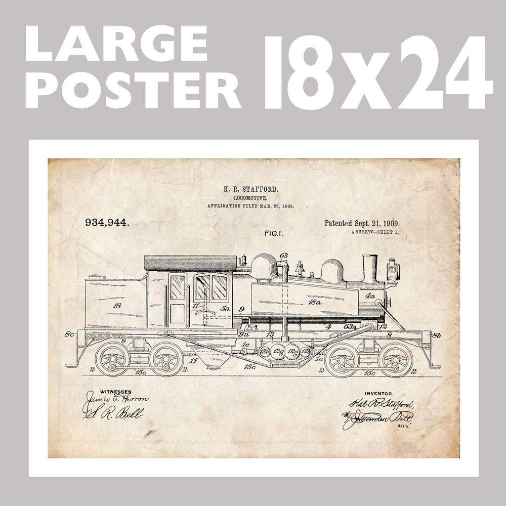 Locomotive Shay Steam Train Engine Stafford Us Patent Print 18x24 Art Diagram Poster Gift Vintage