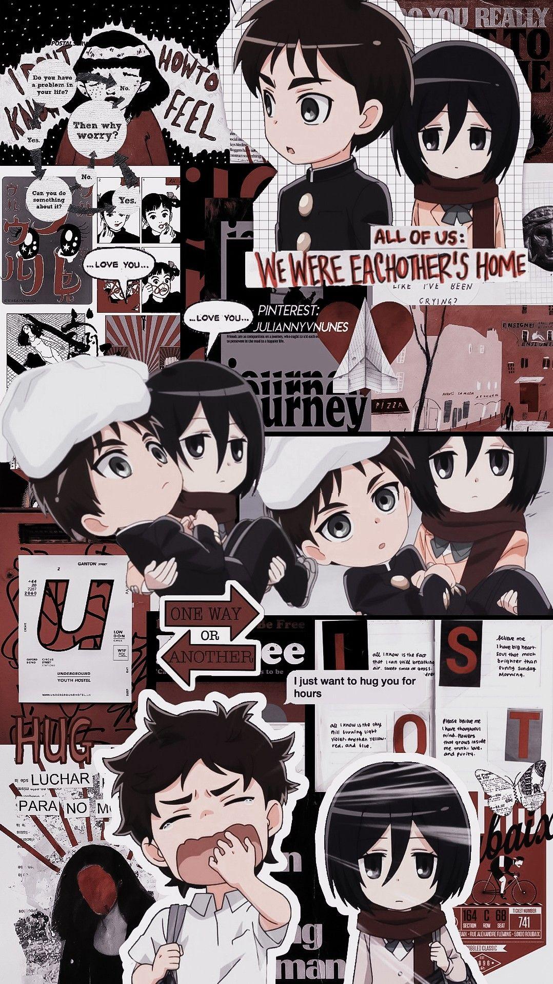 Eren Mikasa Seni Anime Lock Screen Anime Seni