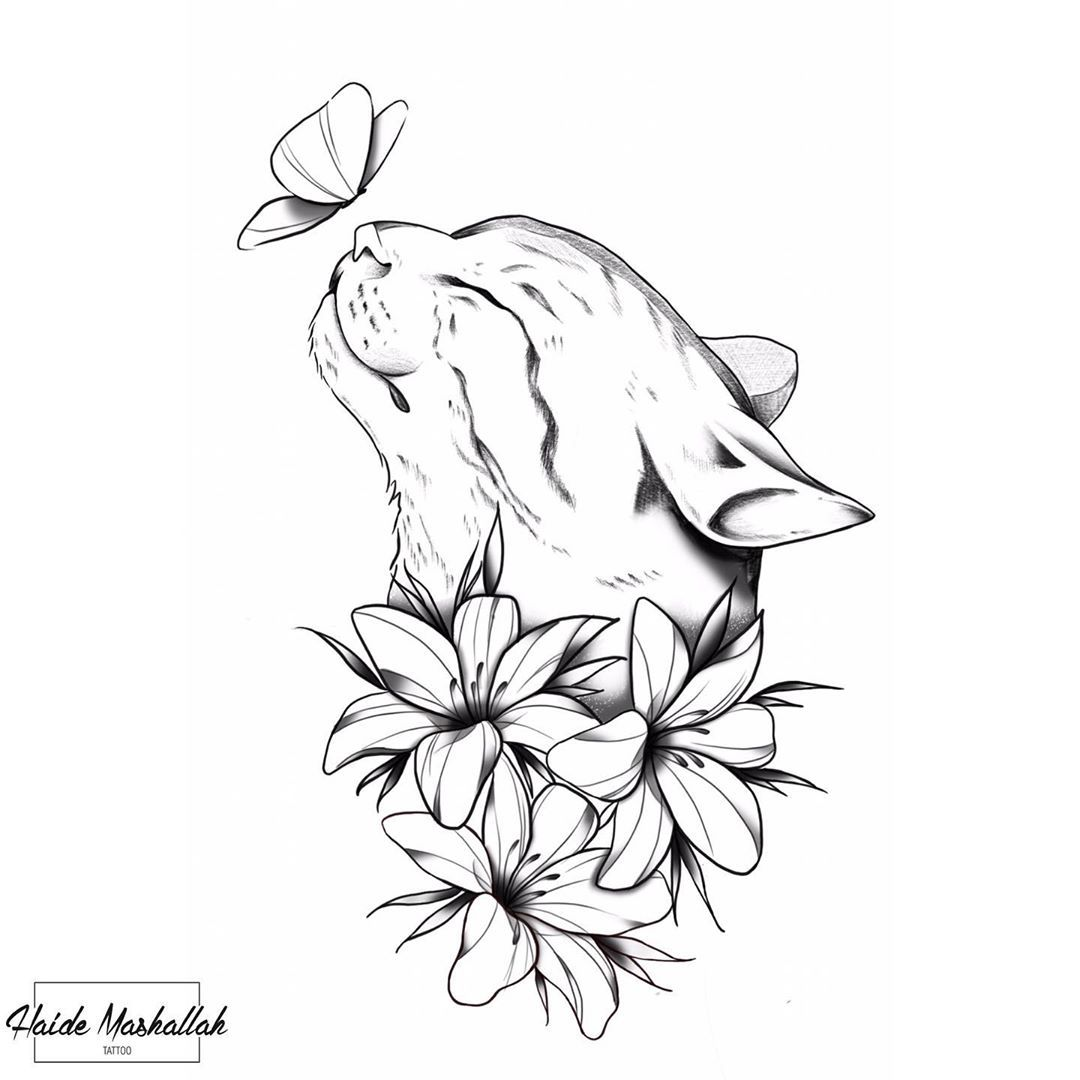 Koshka Dlya Srisovki In 2020 Cat Tattoo Art Drawings Sketches Creative Art Sketches