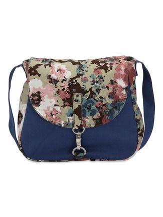 Buy Vogue Tree navy blue cotton floral print sling bag Online ...