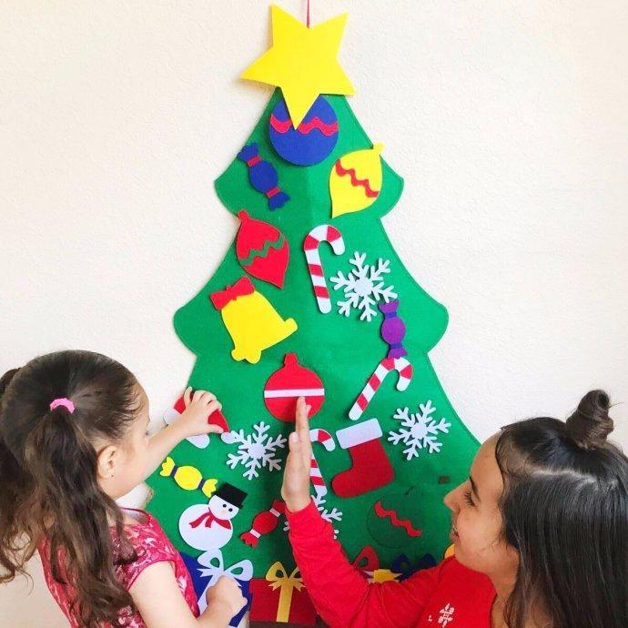 Jane - #Click Away LLC Felt Christmas Tree With Ornaments